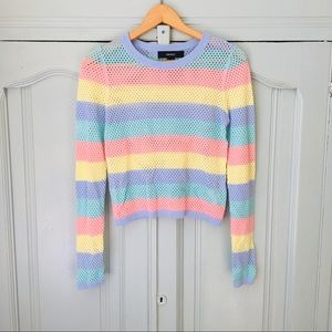 Forever 21 Pastel Rainbow Mesh Knit Sweater